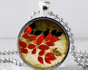 Fall Leaves Pendant, Fall Leaves Necklace, Fall Jewelry, Autumn Leaves Pendant, Autumn Leaves Necklace, Autumn Jewelry, Glass Art Pendant
