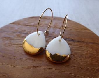 Gold Scalloped Rain Drop Hoop Earrings