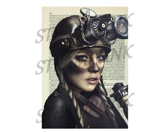 illustration woman minor STEAMPUNK - print - art print - painting - wall decor - printable instant download