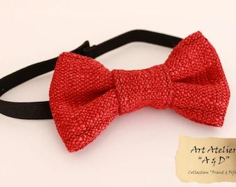 "Bow tie red ""Bon Vivant & Fifa"" man in cotton/linen"