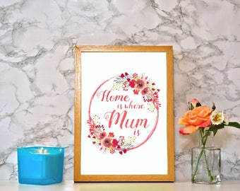 Framed 'Home Is Where Mum Is' Watercolour Print With Wood Frame - Perfect gift for Mother's Day