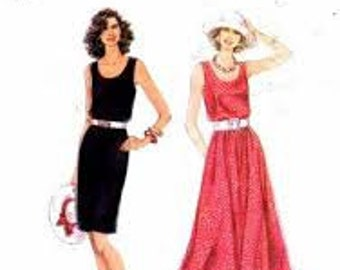 Simplicity #9022  Dress with Full or Slim Skirt  Pattern Size A 8-18