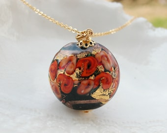 Black Venetian Murano Glass Necklace