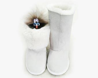 Sheepskin boots for home