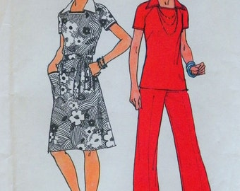 """Women's Plus Size Sewing Pattern Jiffy Dress Top Pants Simplicity 6384 UNCUT """"Simple To Sew"""" Size 40 & 42 Bust 44-46 Misses Pattern"""