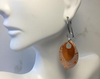 Orange Earrings, Stainless Steel Earrings, Metal Earrings, Unique Earrings, Gifts for Her, Scalemaille Earrings, Chainmaille, Nickel Free