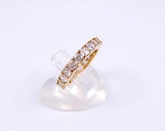 Vintage Rhinestone Eternity Ring - Chunky 1990s Gold Tone Ring Set With Clear Rhinestones, Vintage Eternity Ring, Vintage Costume Jewellery