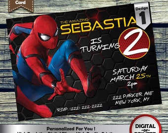Spiderman Homecoming Birthday Party Invitation customized printable invite for boys or girl of any age + Free Thank You Card