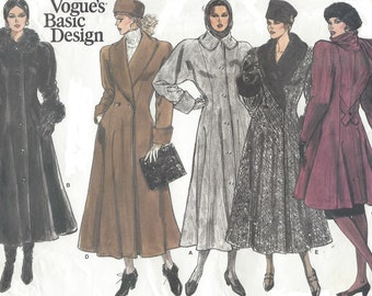 1980s Womens Princess Seam Coat, Single or Double Breasted in 2 Lengths Vogue Sewing Pattern 1764 Size 12 Bust 34 Vogue Basic Design