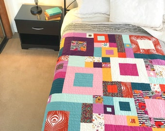 Modern Twin Quilt - Extra long twin - Stripes and Floral - Unique Colorful Quirky - Mid Century Mod Bedding - Handmade Patchwork