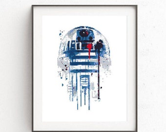 Star Wars cross stitch pattern R2D2 cross stitch sampler Watercolor cross stitch Modern home decor BB-8 Clone Darth Vader Boba Fett Funny