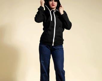 "Black jacket woman, jacket trend, tendency jacket, jacket with hood "" MATRIX-NEO """