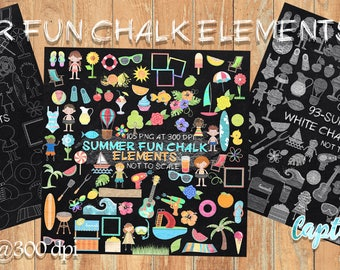 290 Summer Fun Chalk Elements\Clipart **** Instant Download****