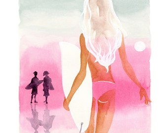 Watercolor Lifestyle, Limited Edition Art Print, Fashion Art, Watercolor Art, Watercolor Painting, Hawaii Art
