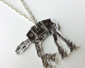 Star Wars | AT-AT | Walker | The Force Awakens | Silver | Mirrored | Laser Cut  | Acrylic | Necklace