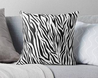 Zebra Black & White Throw Pillow , Decorative Throw Pillows , Pillow Cases , Throw Pillow Covers , Couch Pillows , Zebra , Animal , Stripes