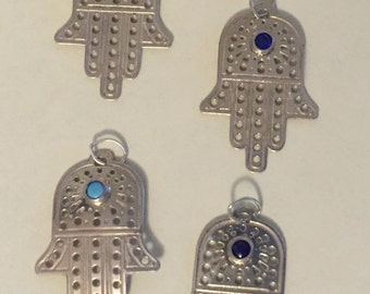 Sterling Silver Hamsa charm (pendant) with 3 MM Turquoise Blue Topaz, Sapphire or Lapis