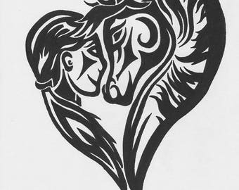 Tribal Human and Horse Heart - Reusable Vinyl Decal