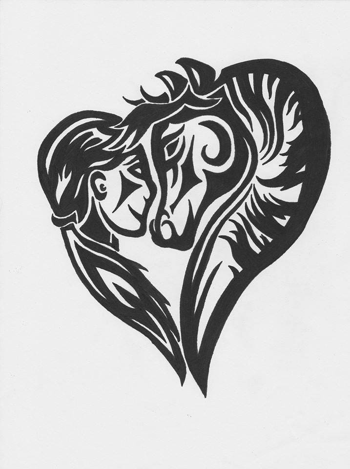 Corazón humano y caballo tribal etiqueta del vinilo