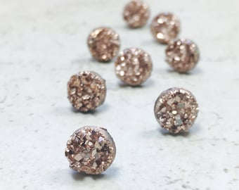 Set of 9 Bridesmaids Earrings, Tiny Rose Gold Faux Druzy Earrings, Small 8mm Round Studs with Gift Boxes