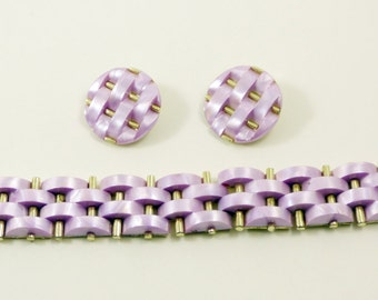 Vintage Pale Lilac Woven Thermoset Bracelet and Clip Earring Set