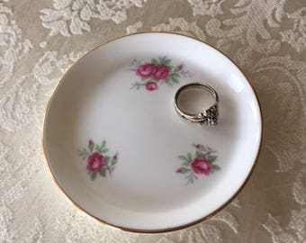 Vintage Ring Jewelry Dish Hand Made Aristocrat Bone China Dish Pink Flowers 1950s jewellery box