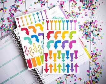 Assorted Rainbow Arrows FUN-ctional Stickers! Set of 64 large stickers, perfect for your Erin Condren Life Planner, calendar, Plum Planner!