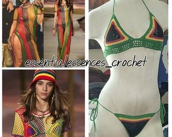 Handmade Crochet Red-Black-Yellow-Green (Rasta) 2pc Bikini...Rihanna Work Video Inspiration Bathing Suit