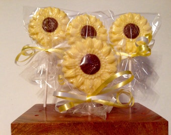 12 Chocolate Sunflower Lollipops Mother's Day Luncheon Favors Garden Party Favor Spring Party Wedding Bridal Shower