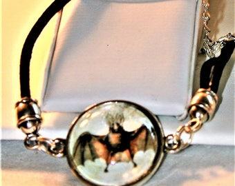 Goth Bat Picture Cord Bracelet
