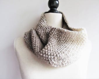 Candice Women's Knit Cowl - Cream/Taupe / Women's Cowl / Knit Cowl / Wool Blend Cowl / Neutral Cowl / Winter Cowl / Winter Scarf