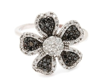 Unique10K White Gold Black and White Pave Diamond Large Flower Ring