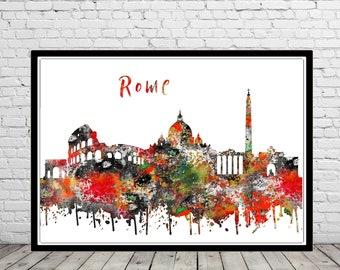 Rome, Rome skyline, Rome Italy, watercolor Rome, Rome art, Italy, Rome print, watercolor City Print, Office Art