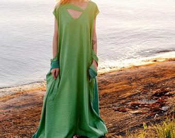 Linen dress Ahimsa, Green maxi dress, dress-meditation, long dress, oversize dress, boho dress