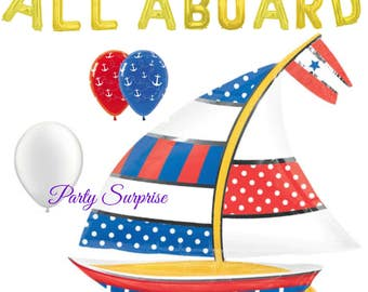 Sailboat Balloon Nautical Party Baby Shower Anchors Away Balloons, Ahoy Matey Balloons, Nautical Birthday Boating Party Balloons