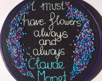 SALE Flowers Claude Monet Handmade Embroidery Hoop