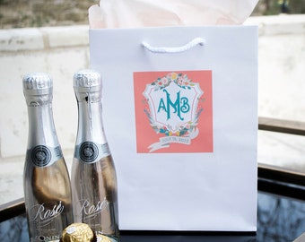 Customized Monogram Crest Wedding Gift Bags, Personalized Hotel Welcome Bags for Out of Town Guests, Custom Wedding Gift Bags