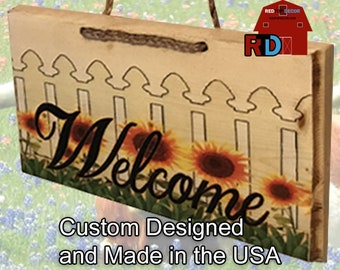 Small Rustic Natural Wood Welcome Sign Sunflowers and White picket fence ready for spring and summer handmade by BJ and Bailey