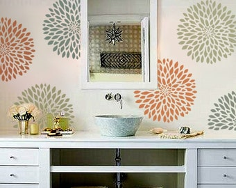 STENCIL for Walls - Chrysanthemum no. 2 - 3 SIZES - Flower stencil for Walls - Reusable Modern Wall Decor
