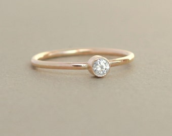 gold ring / diamond. engagement ring. birthstone ring. ONE delicate stackable gemstone ring. solid gold. mothers ring. diamond solitaire.