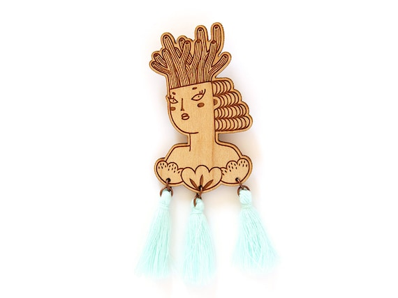 Mermaid brooch - wooden pin - mint tassels - woman with coral on her head and shells on her chest - lasercut jewelry - wood jewellery