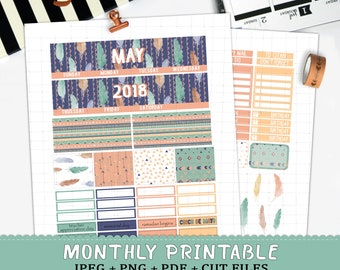 May 2018 monthly planner stickers for Erin Condren LifePlannerTM watercolor tribal feathers blue printable sticker kit silhouette cut files