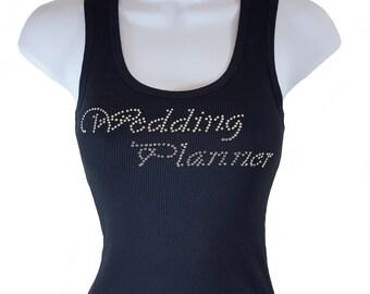 WEDDING PLANNER RHINESTONE Tank Top Black Shirt