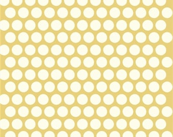 Yellow Polka dot fabric - Birch Organic Cotton Fabric - Dottie Cream - Sun - Mod Basics Poplin - Yellow and Cream Dots