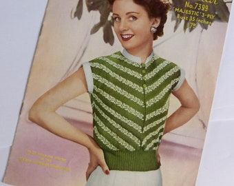 Sirdar 1950s Vintage Knitting Pattern Booklet 7399. Actual Booklet
