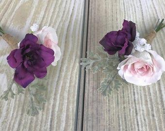 Plum Boutonnière, Pink Boutonnière, Men's Boutonnière, Silk Boutonnière, Wedding Flowers, Silk Flowers