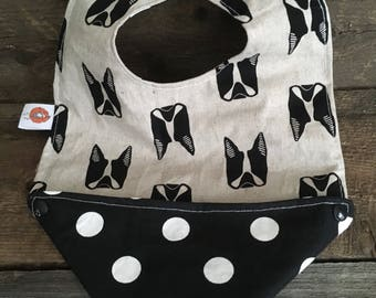 Scalable reversible bib for baby kids bandana bavana bib boston terrier, pug dog black and white polka dots