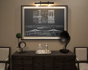 Brooklyn Bridge blueprint : Vintage New York Brooklyn Bridge architectural blueprint drawing art print poster - Giclee Print