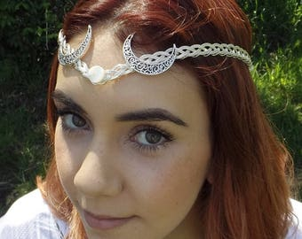 Silver Moon Goddess Circlet, Crown, Tiara Moon with Mother of Pearl. MOP.