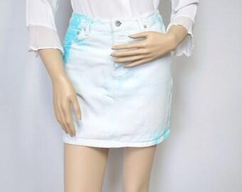 Vintage Skirt Denim Jean Mini Skirt  ABS Hippie Tie Dye Acid Wash Look Skirt Size 4 Size Small